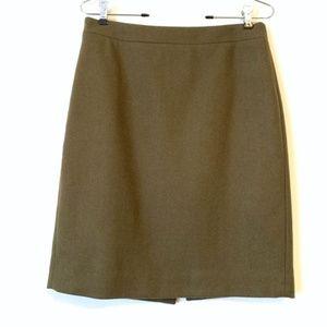 J. CREW FACTORY Olive Green Wool Pencil Skirt